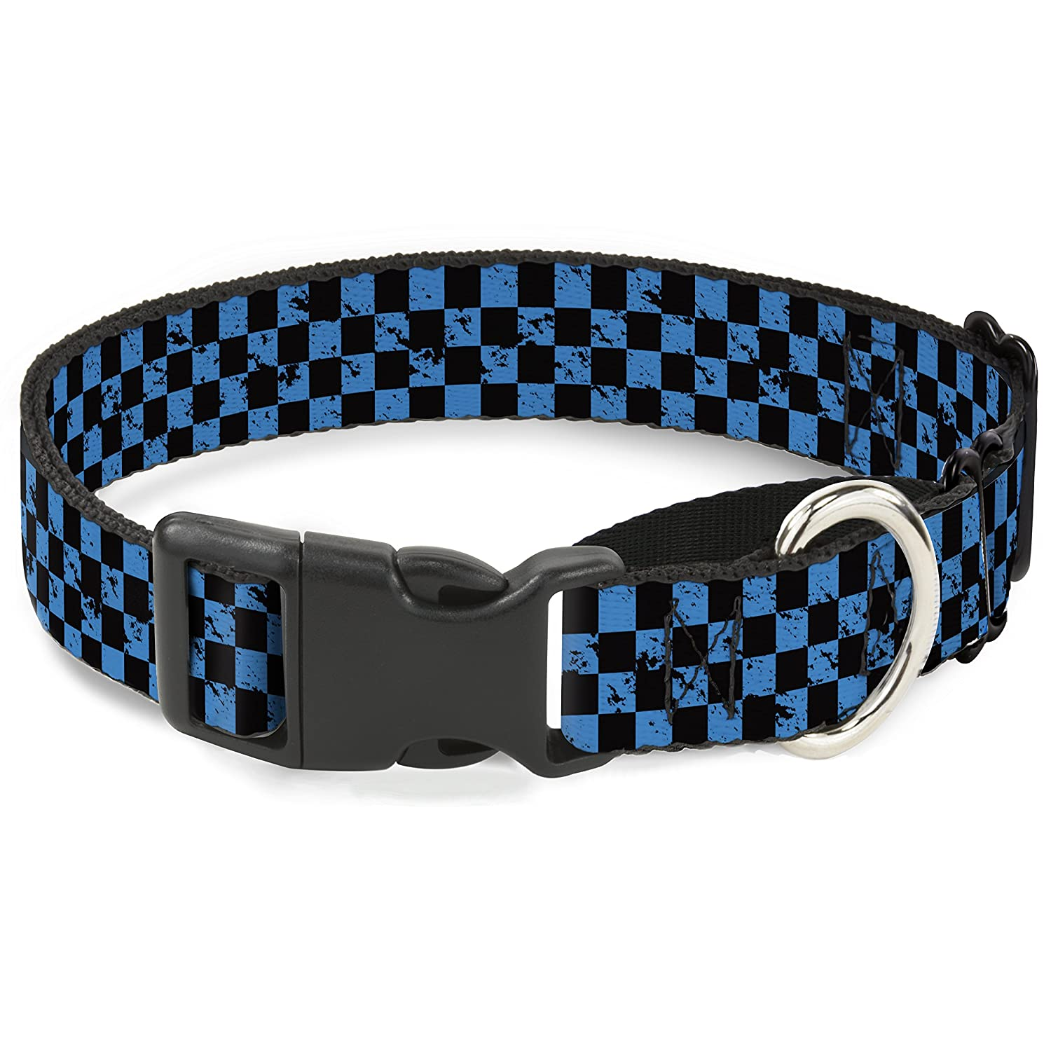 Buckle-Down Checker Weathered Black Turquoise Martingale Dog Collar, 1  Wide-Fits 9-15  Neck-Small