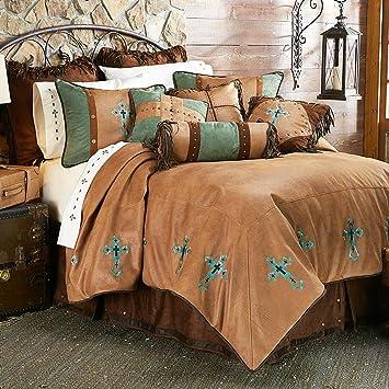 Amazon Com Black Forest Decor Santa Cruz Turquoise Bed Set Queen Furniture Decor