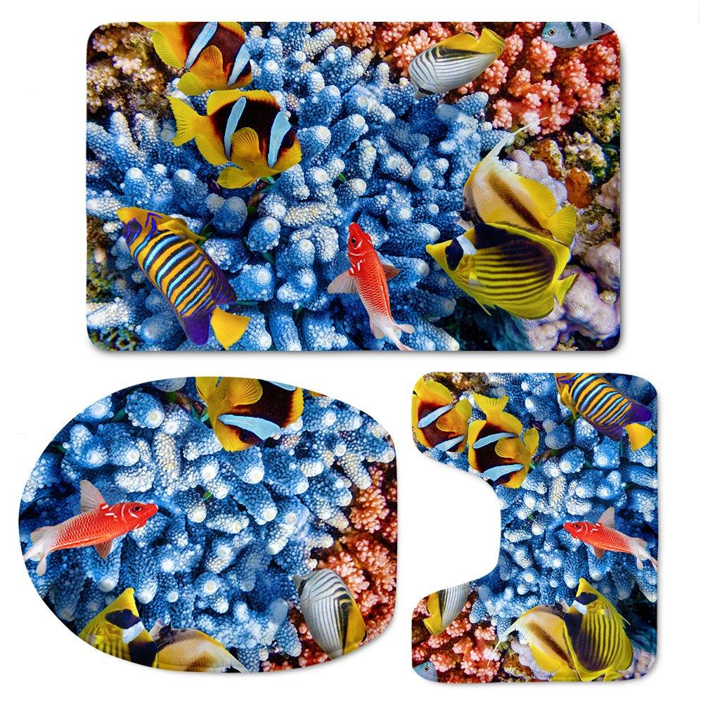 Coloranimal 3 Piece/Set U-shaped Tolite Mat+Area Rug+Toiled Lid Covers Cute Cartoon Tiger Pattern