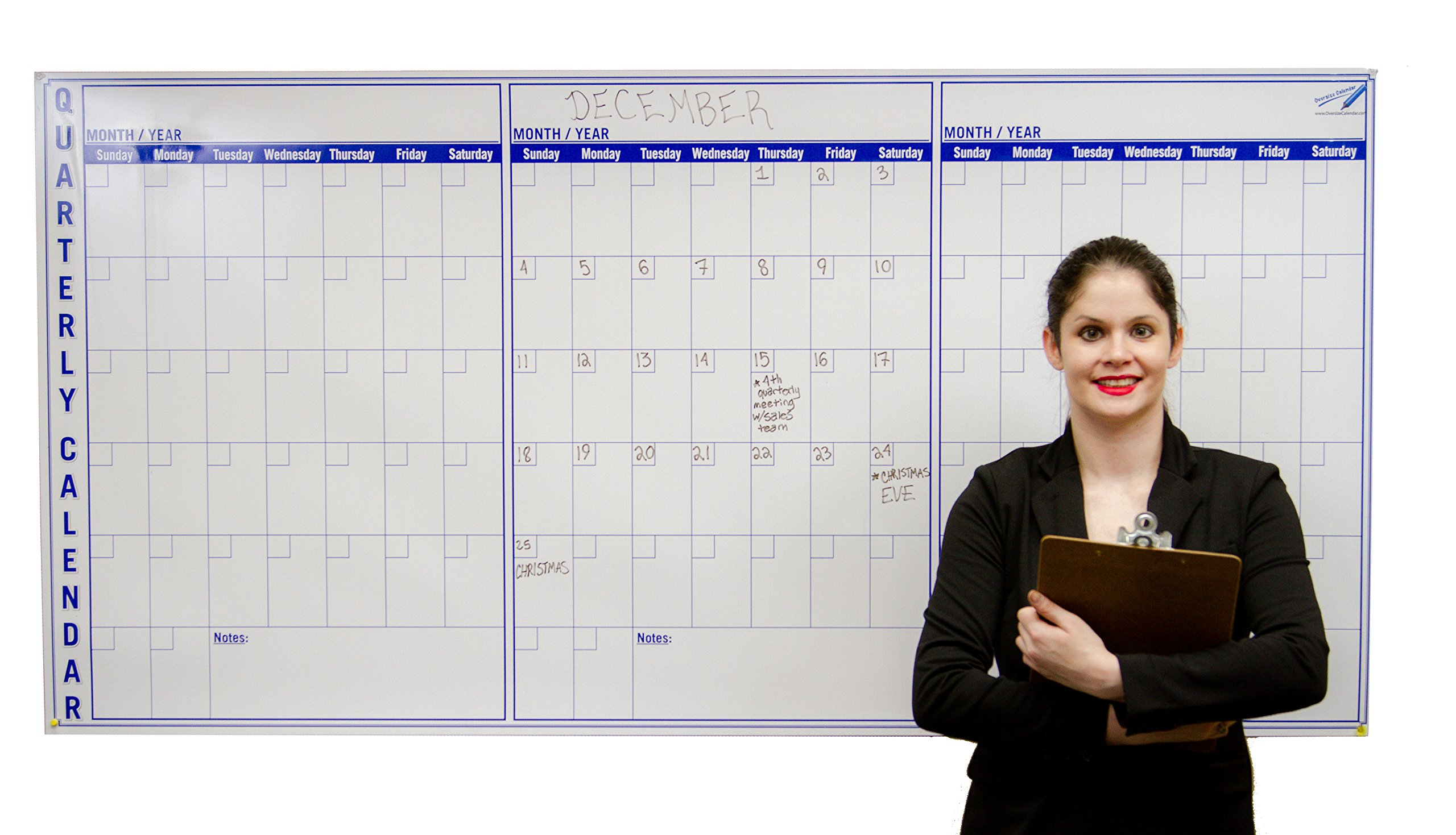 Large Dry Erase Wall Calendar 3 Month - 36 x 72 inch Big Calendar for Wall - Quarterly Office Wall Calendars by Oversize Planner by ABI Digital Solutions