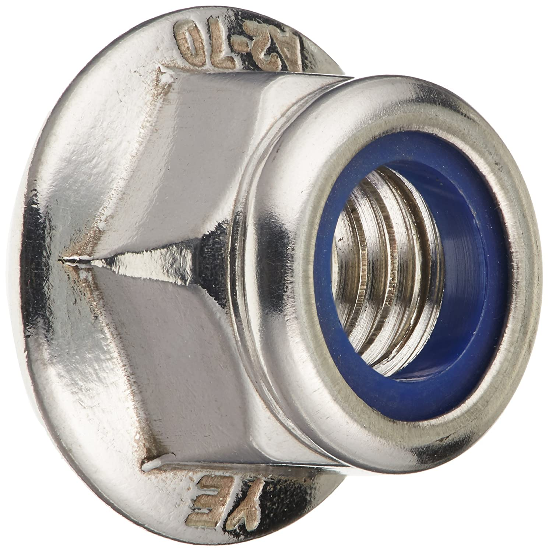 M8x1.25mm Stainless Steel Hex Flange Nylon Insert Lock Nuts 10 Pcs