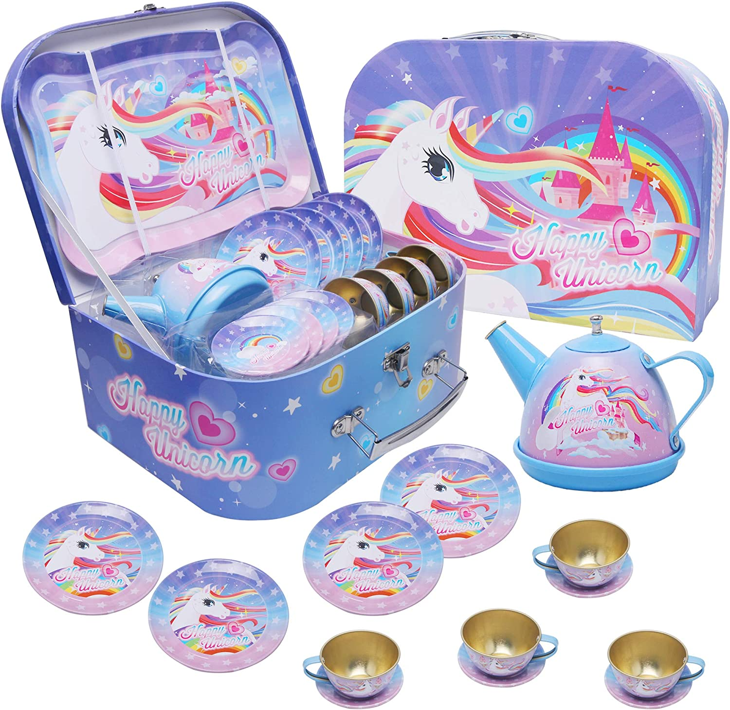 Alyoen Tea Party Set for Little Girls, Unicorn Kids Tea Toys for Kitchen Pretend Play, Tin Teapot Set with Carrying Case for Toddlers Boys – 15 Pieces