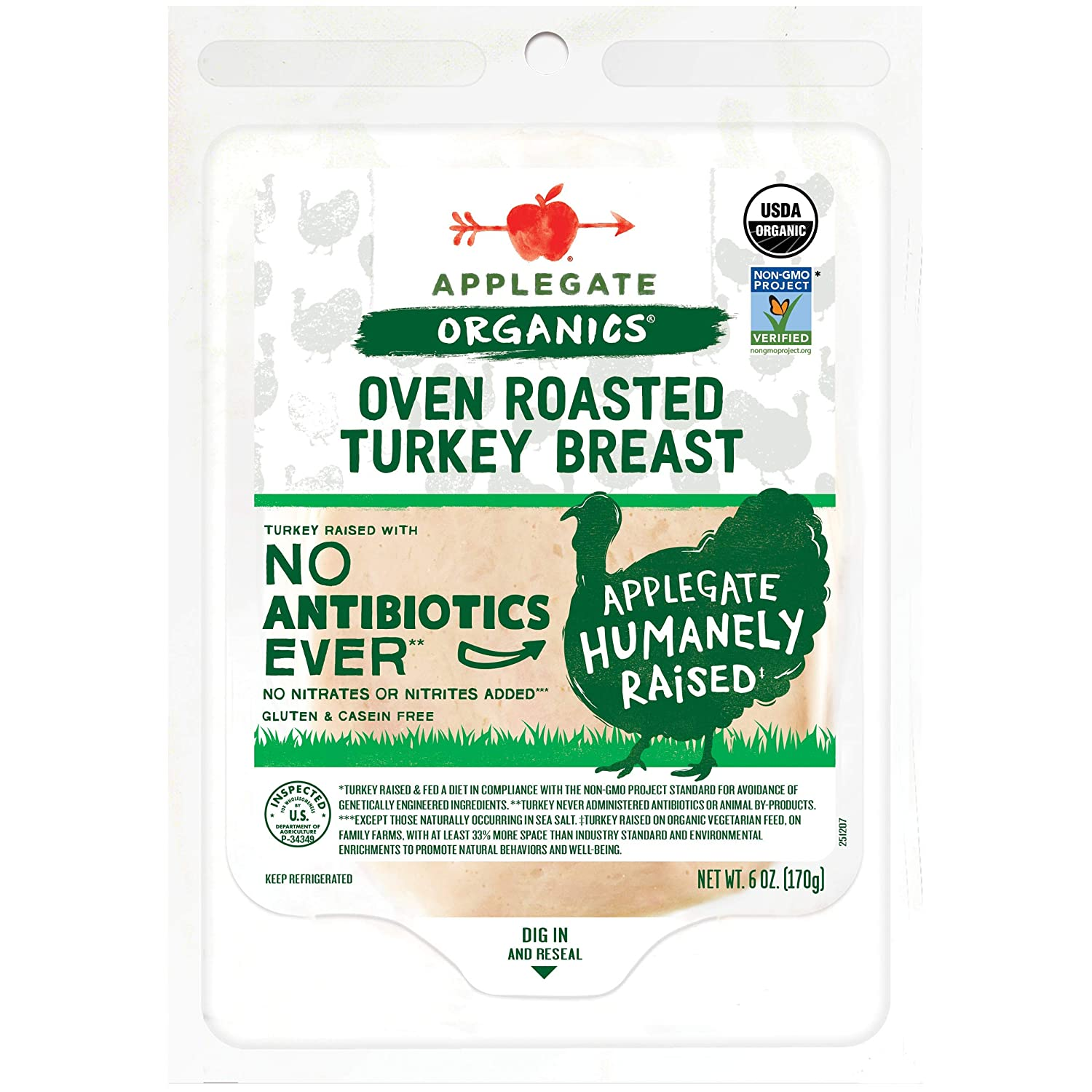 Applegate, Organic Oven Roasted Turkey Breast, 6oz