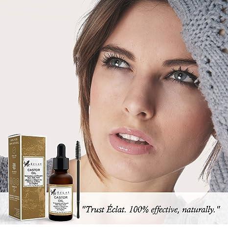 Aceite de Ricino Orgánico Presionado en Frío Eclat - Aceite de Jojoba Orgánico 100% Puro con Cepillo Aplicador sin Rellenos ni Aditivos para un Aceite ...
