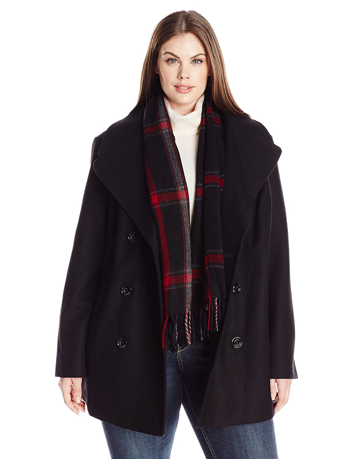 London Fog Women's Plus Size Double Breasted Peacoat with Scarf Black 1X L161608T93