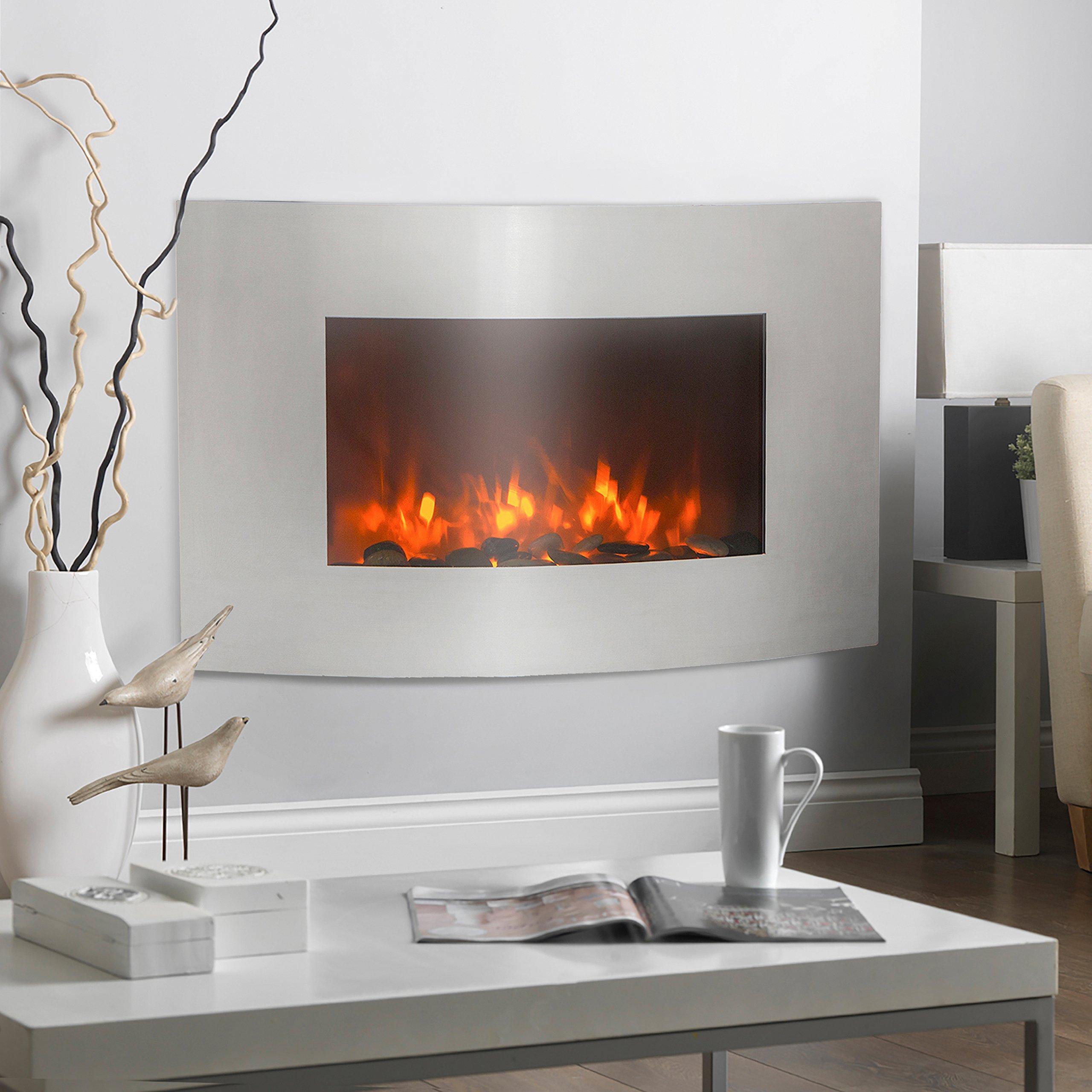 XtremepowerUS Stainless Steel Frame Wall Mount Heater Fireplace, Large 35'', 1500 Watt