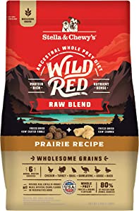 Stella & Chewy's Wild Red Dry Dog Food Raw Blend High Protein Wholesome Grains Prairie Recipe, 3.5 lb. Bag