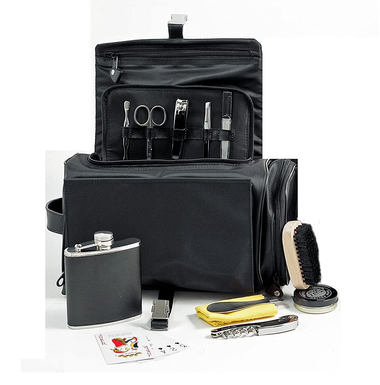 Mens Grooming /& Survival Set in Black Leather /& Nylon Case Mens Toiletry Kit Kensington Row Collection KRC-BB-BB576B-MG Deluxe Dopp Kit Mens Gifts