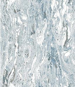 RoomMates Marble Seas Blue Peel and Stick Wallpaper
