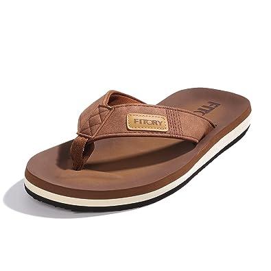 5e54d99bda4059 FITORY Men s Flip-Flop Thong Sandals Light Weight Beach Slippers Size 7-13  Tan