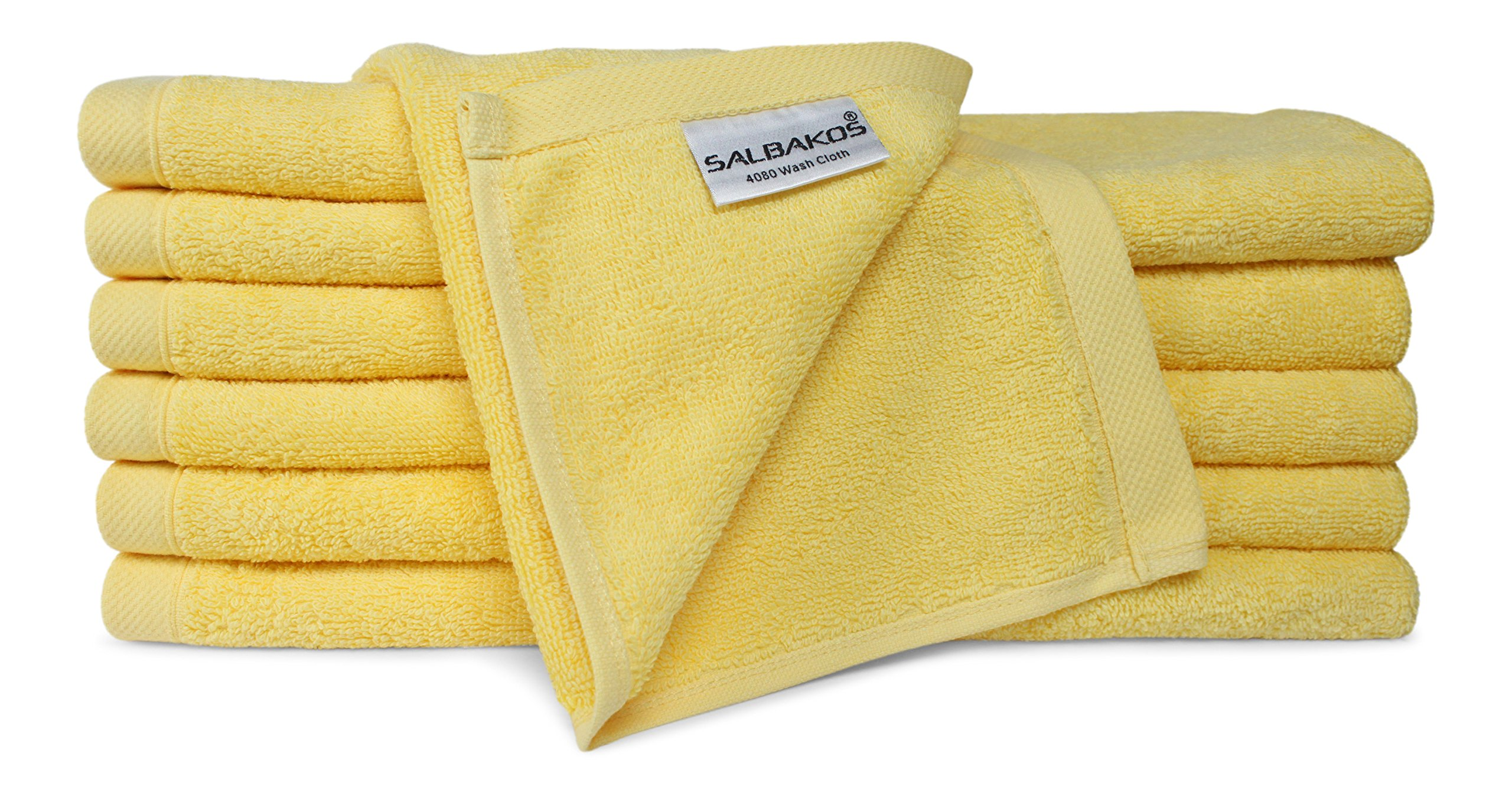 SALBAKOS Luxury Hotel & Spa Turkish Cotton 12-Piece Eco-Friendly Washcloth Set Bath, Yellow