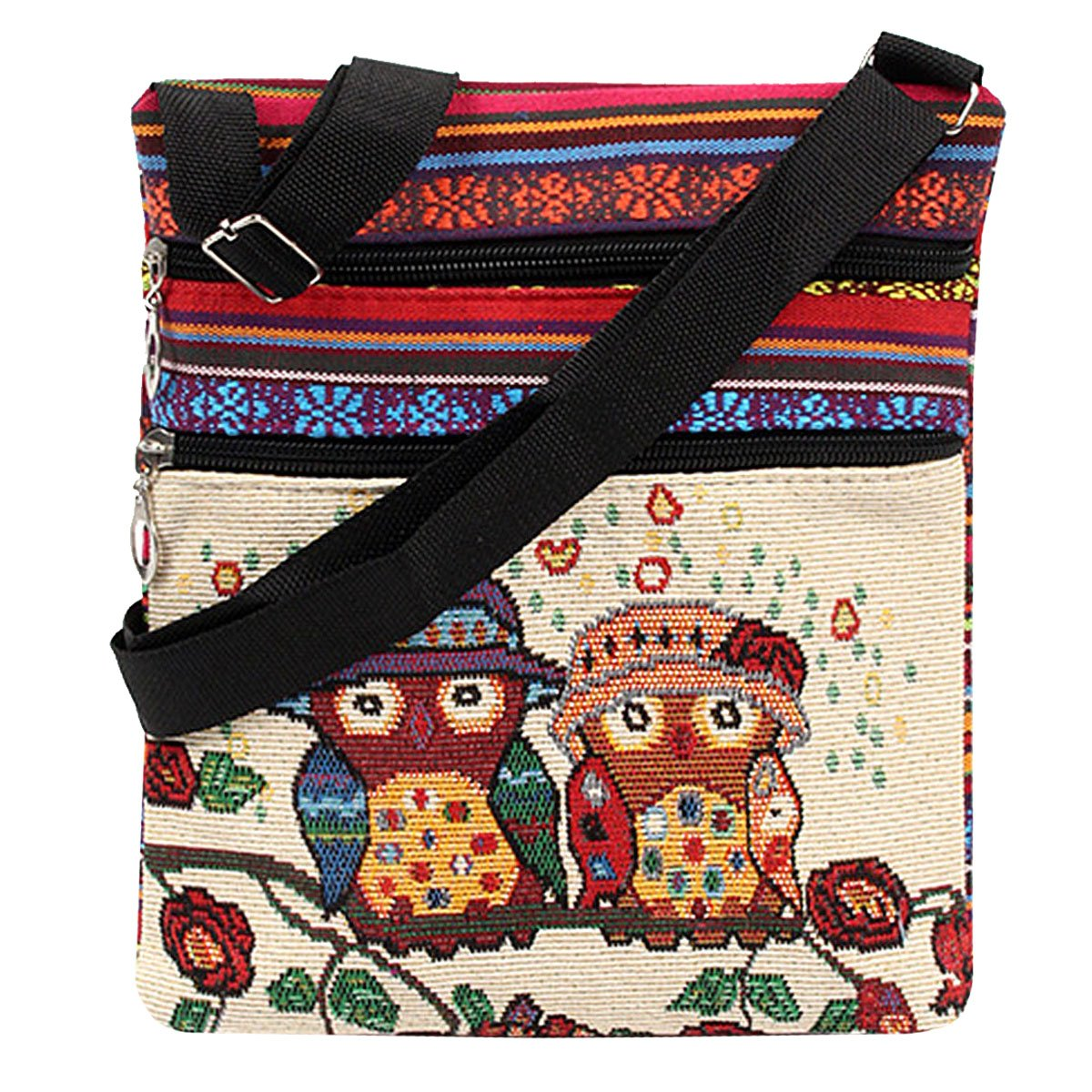 LA HAUTE Women Canvas Shoulder Bags Ethnic style Embroidered Owl Design Crossbody Bags Travel Shopping Bags