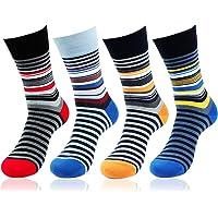 Bonjour Men's Striped Design Cotton Socks (Pack of 4) (BRO1608-PO4)