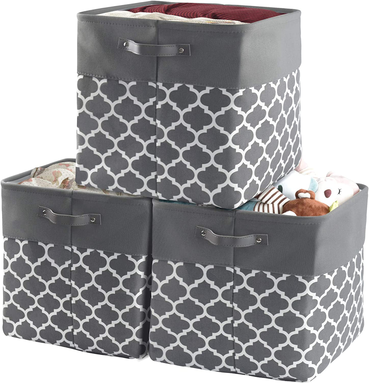 homyfort Storage Basket Bin 3 Pack, 13''x13'' Collapsible Storage Cube Box Canvas Fabric Organizer with Handles for Bedroom, Office, Closet, Toys, Clothes, Kids Room, Nursery(Grey)
