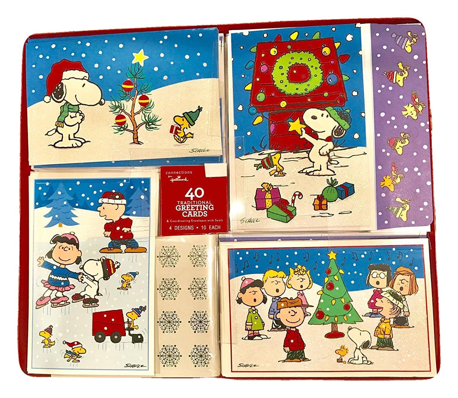 Amazon.com : Hallmark Peanuts Christmas Holiday Greeting Cards with ...