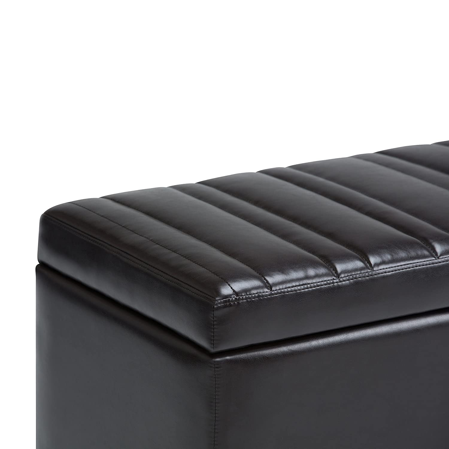 Simpli Home AXCOT-259-BR Darcy Storage Ottoman Bench in Tanners Brown Faux Leather