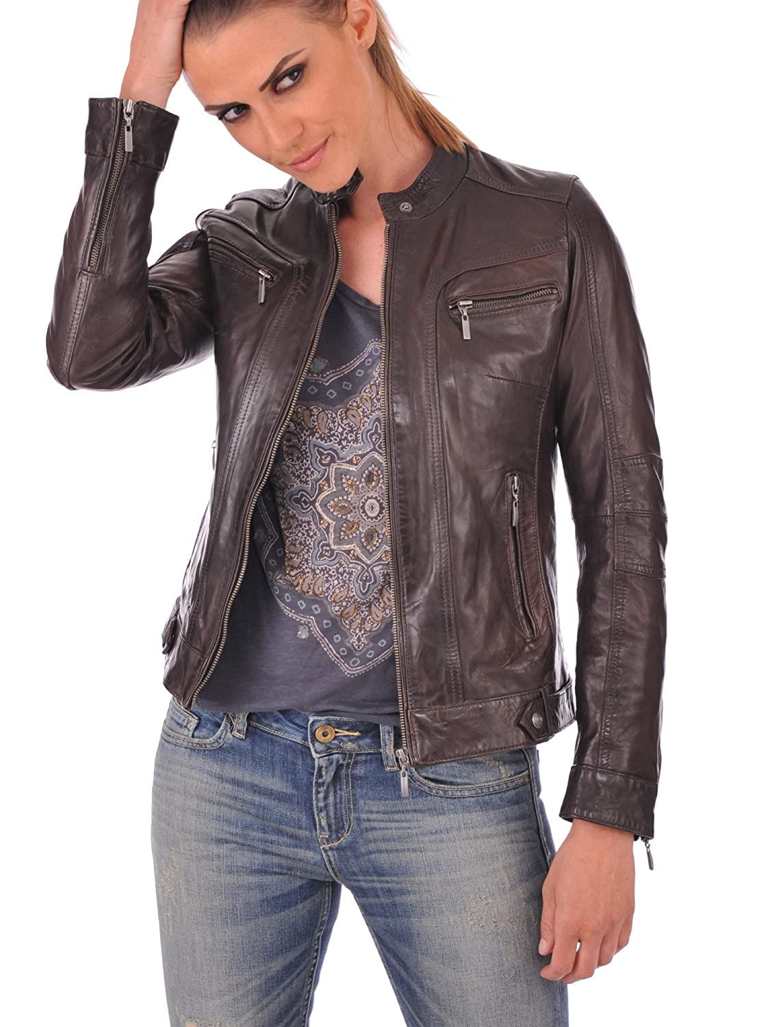 Brown 04 DOLLY LAMB Womens Leather Jacket Genuine Lambskin Womens Brown Biker Leather Jacket k XS to XXL