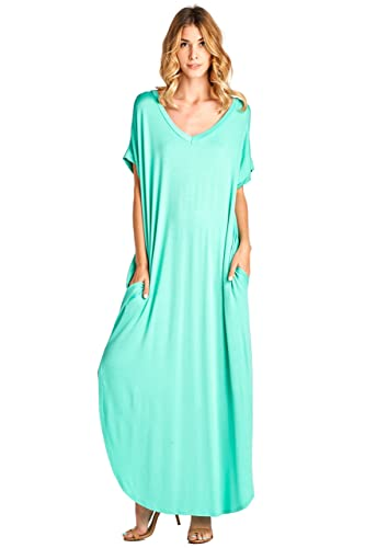 12 Ami Solid V-Neck Pocket Loose Maxi Dress - Made in USA