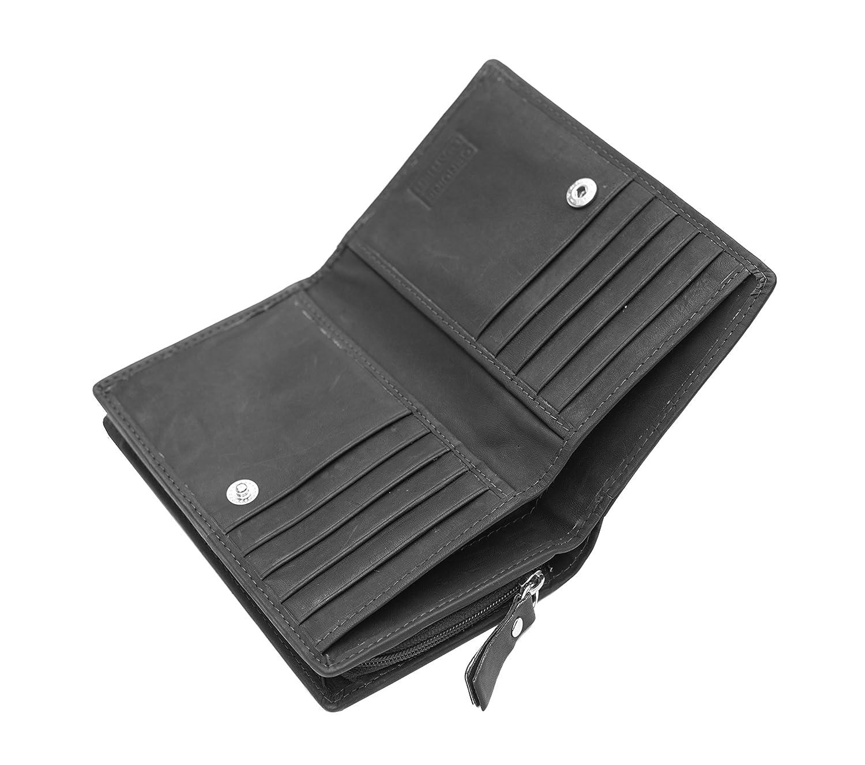 Alva  Ladies Soft Black Leather Purse Bifold Leather Purse Black NEW