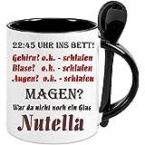 """Kaffeetasse m. Löffel """" Nutella """" - Kaffeetasse mit Motiv, bedruckte Tasse mit Sprüchen o. Bildern - auch indiv. Gestaltung"""