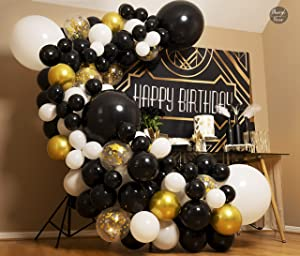 4 Sizes – Black White Gold Balloon Garland Kit & Arch for New Years, Graduation or Birthday – Small and Large Black and White Balloons with Gold Confetti – Party Decorations for Gatsby Roaring 20s