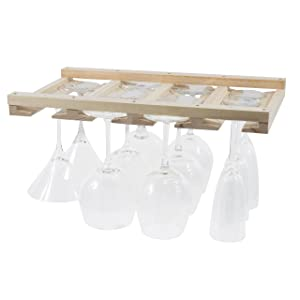 Rustic State Stemware Wine Glass Rack Makes Dull Kitchens or Bar Looks Great Perfectly Fits 6-12 Glasses Under Cabinet Easy to Install with Included Screws Great Hanging Bar Glass Rack (Natural)