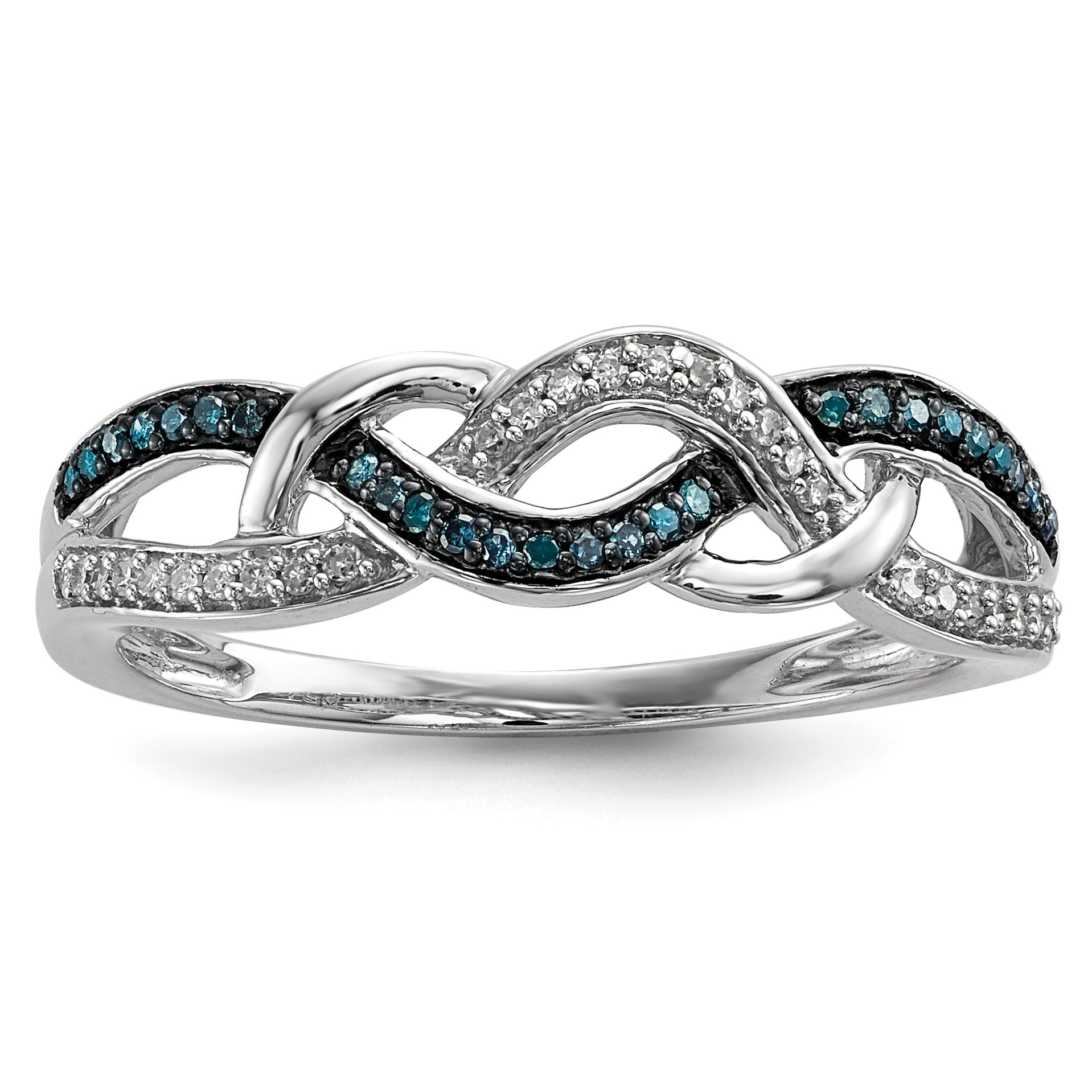 ICE CARATS 925 Sterling Silver Blue White Diamond Band Ring Size 6.00 Fine Jewelry Gift Set For Women Heart