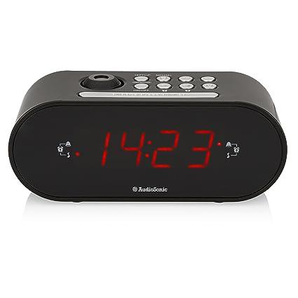 Smartwares CL-1496 – Reloj Despertador con Dos Alarmas, Radio FM, Proyector, Color Negro