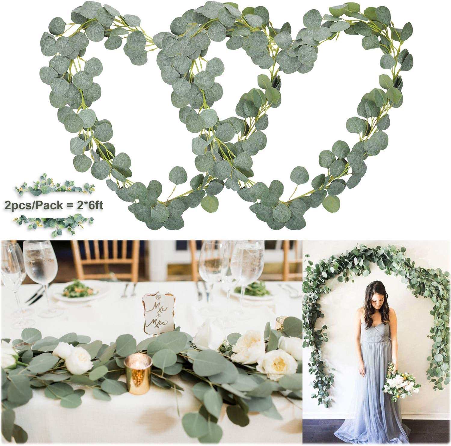 Soyee Artificial Eucalyptus Garland 12FT