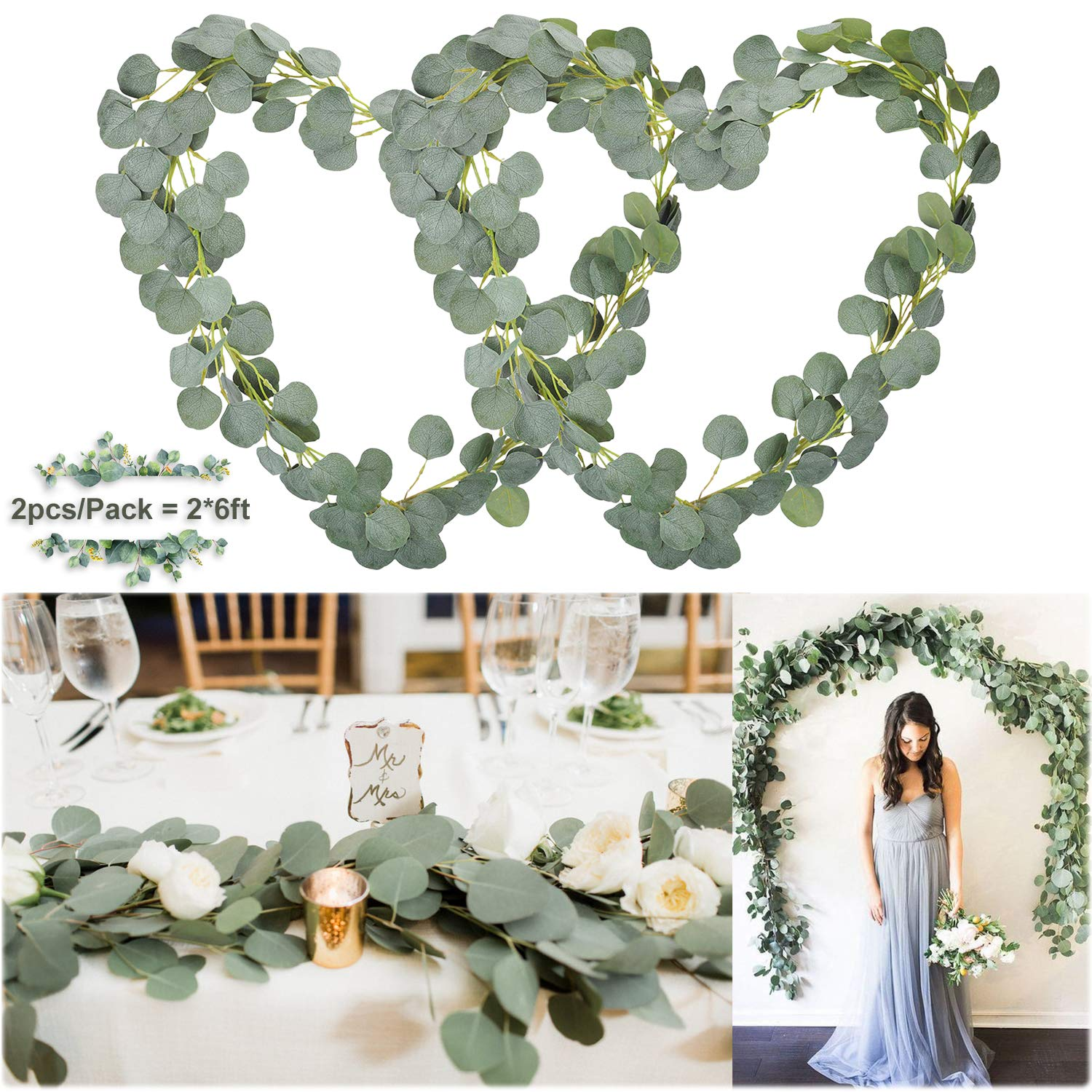 Soyee Artificial Eucalyptus Garland 12FT Wedding Arch Decorations Faux Eucalyptus Leaves Vines Handmade Greenery Garlands Backdrop Table Placement Decor