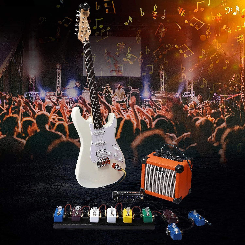 Enchufe de la UE Asmuse MG100 Multi Efectos Pedalera Guitarra Procesador de Pedal para Bajo Principiante Looper Amp EQ Mezclador Instrumento Guitarra El/éctrica Guitarra con Adaptador de Energ/ía