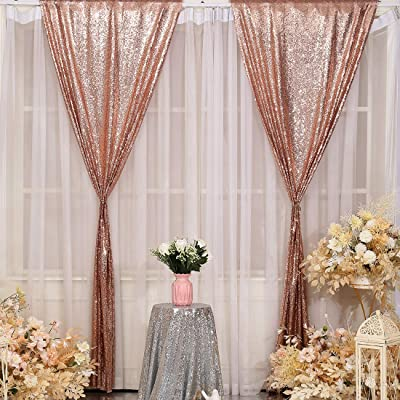 TRLYC Backdrop Curtains Panels for Weddings Sequin Window Drapes Two Panels,4x7.5FT,Rose Gold