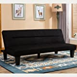 Belleze Premium Convertible Sofa Futon, Microfiber Couch Bed Legs Multifunctional Adjustable -Black