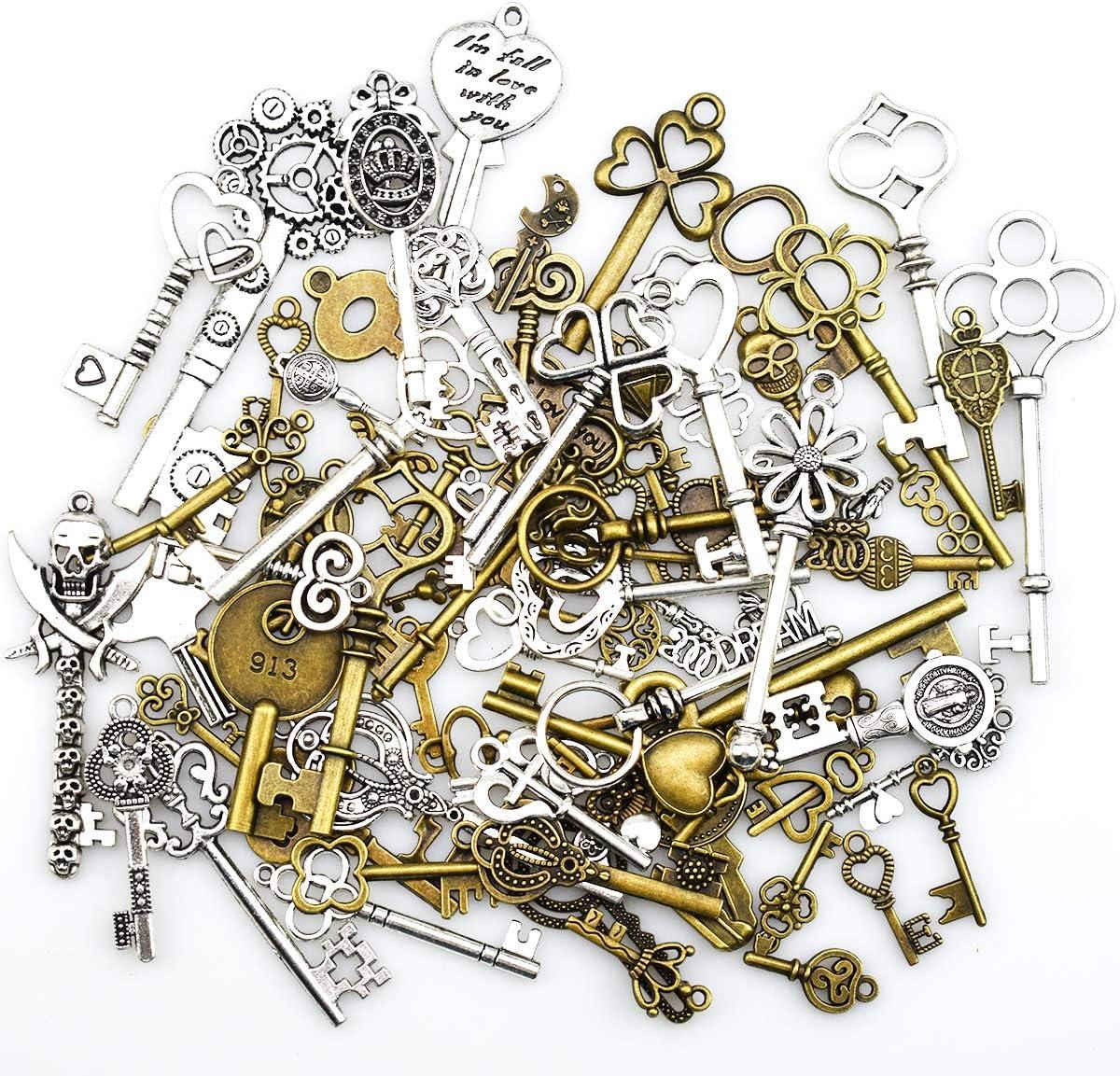 Antiguo esqueleto clave encantos colgantes para hacer a mano suministros hallazgos que hacen accesorio bricolaje collar pulsera (80 piezas)
