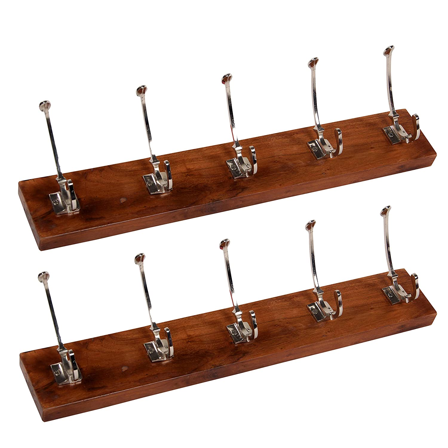 DECORINY Acacia Wood Utility Wall Mounted Board-Nickle-5 Hooks Set of 2 COAT RACKS, Pack of 2