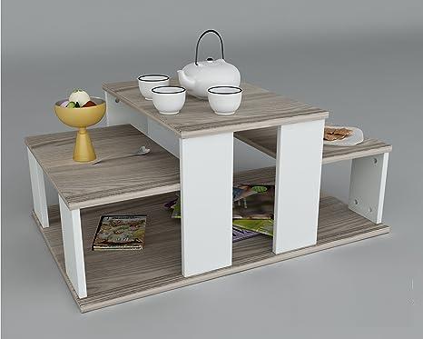Echelon tavolino basso da salotto bianco avola materiale in