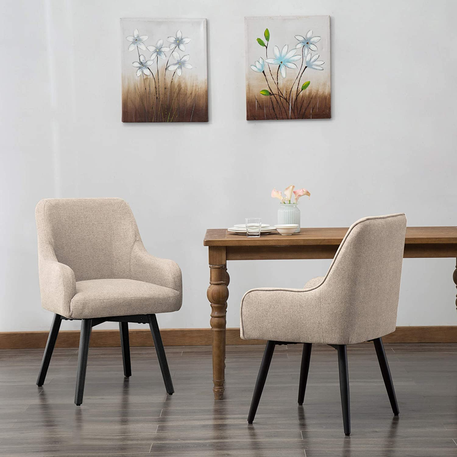 Swivel Dining Chairs Set of 8 Upholstered Living Room Chairs Desk Office  Arm Chair