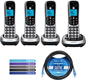 Motorola CD4014 DECT 6.0 Cordless Phones with Digital Answering Machine and Call Block (4-Pack) Bundle with Blucoil 10-FT 1 Gbps Cat5e Cable, and Reusable Cable Ties (5-Pack)