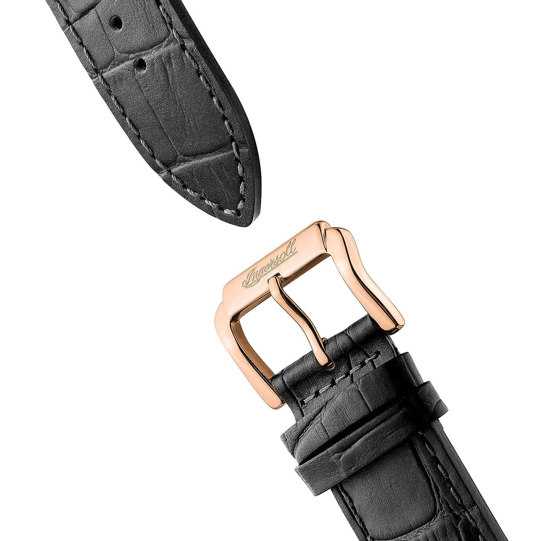 Ingersoll The Armstrong Gents automatisk klocka I06802 med ett fodral i rostfritt stål och äkta läderrem Original Black