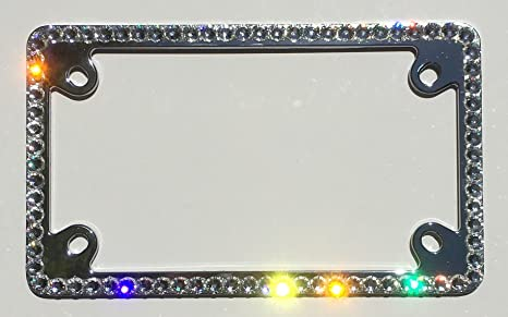 Amazon.com: Cool Blingz 1 Row Motorcycle Crystal License Plate Frame ...
