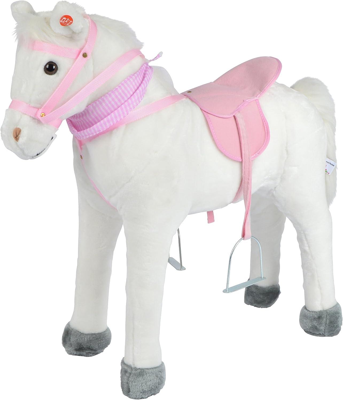 Pink Papaya Caballo de Juego Molly, Caballo para niños 75 cm Caballo de Felpa, Caballo de Juguete Sentarse, con Distintos Sonidos, Cepillo pequeño Incluido