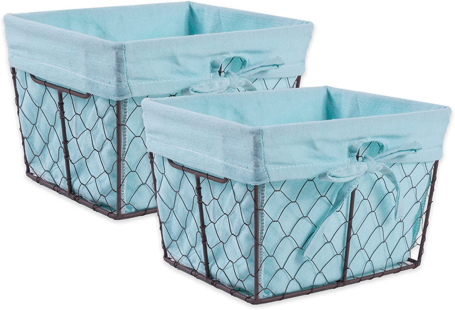 DII Vintage Chicken Wire Baskets for Storage Removable Fabric Liner, Set of 2, Aqua 2 Piece