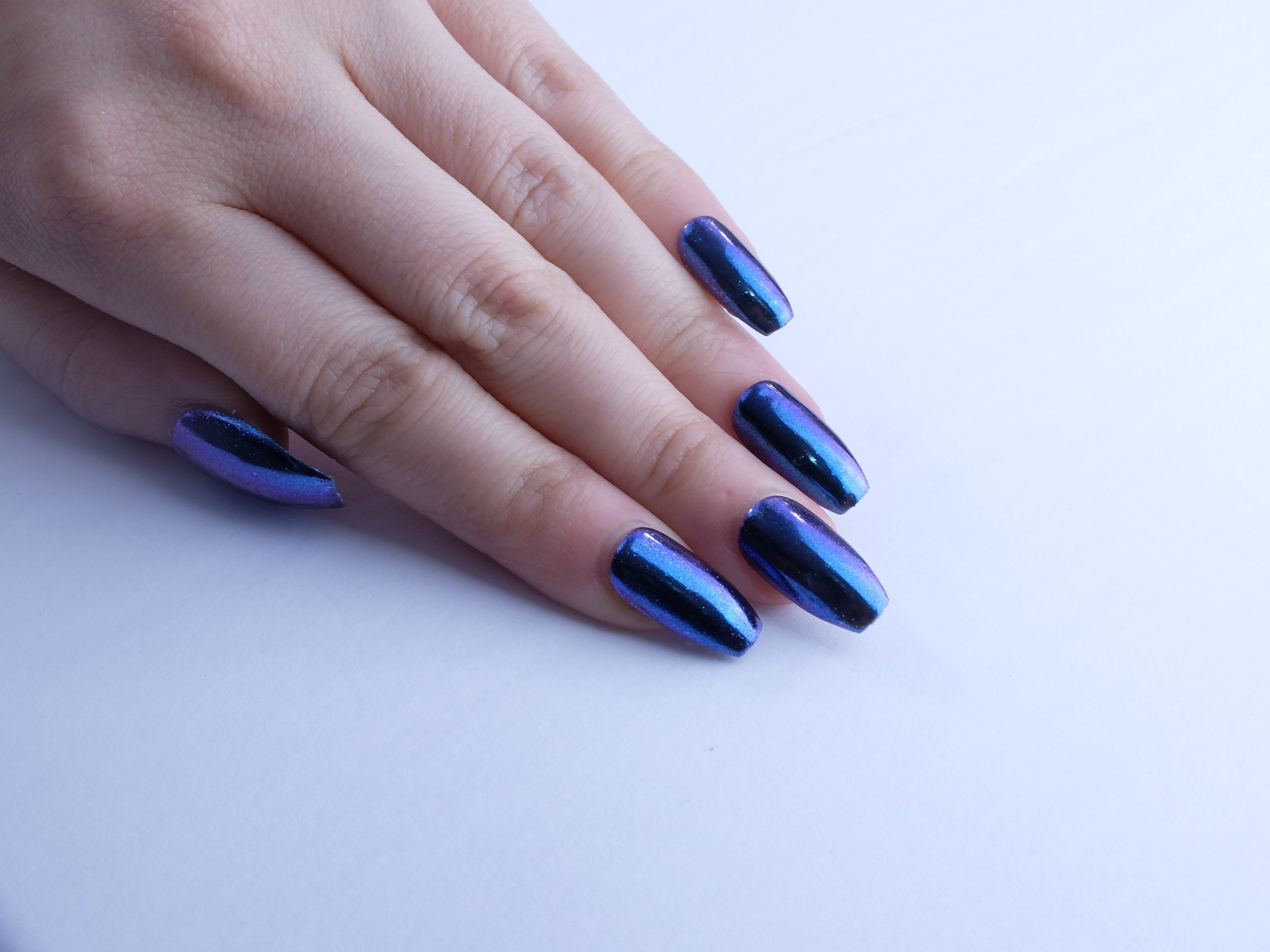 Blue Aurora Custom Press on Nails