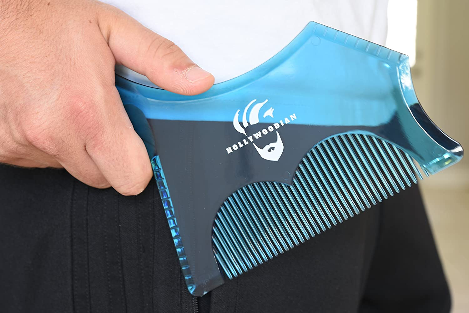 HOLLYWOODIAN New (2018) Transparent Beard Shaping & Styling Tool with Built-in Comb for the Best Line Up, Greater Control and Comfort - Works with any Clippers or Beard Trimmers