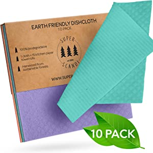 SUPERSCANDI Swedish Dishcloths Reusable Biodegradable Cellulose Sponge Cleaning Cloths for Kitchen Dish Rags Washing Wipes Paper Towel Replacement Washcloths (10 Pack Assorted Colors)