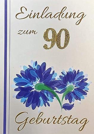 Einladungskarten 90 Geburtstag Mann Frau Mit Innentext Motiv Blaue