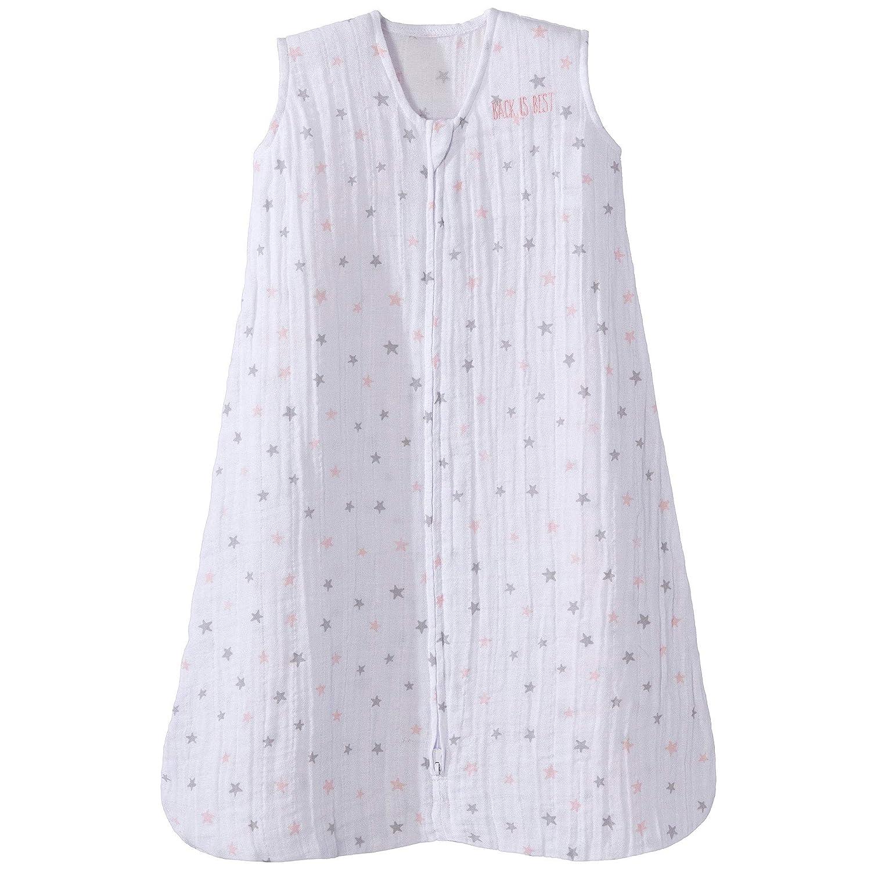 Halo 100% Cotton Muslin Sleepsack Wearable Blanket, Pink Stars, Large