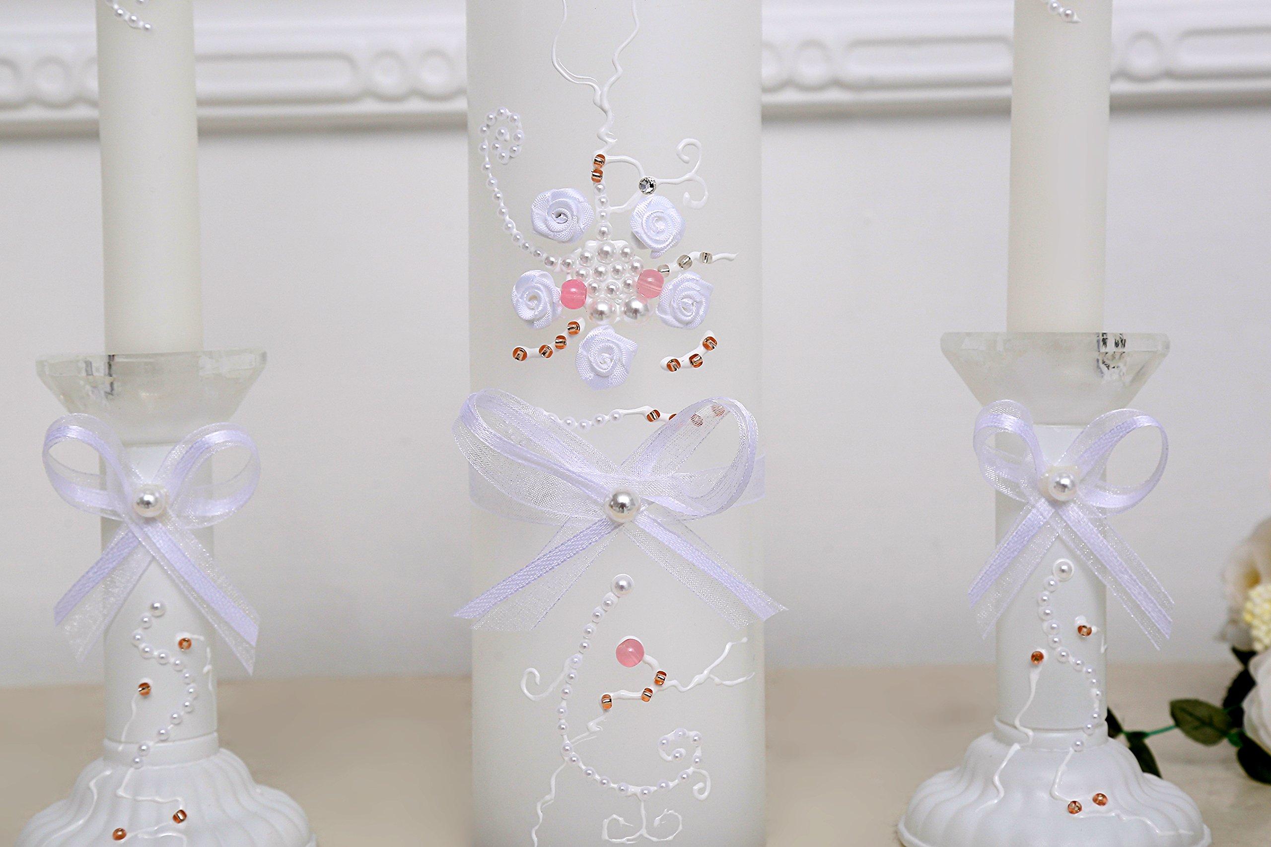 www.Beadingsupplys.com Wedding Candle Set of 3, Unity Rustic wedding Candle Rustic Ceremony Candles personalized memory candle