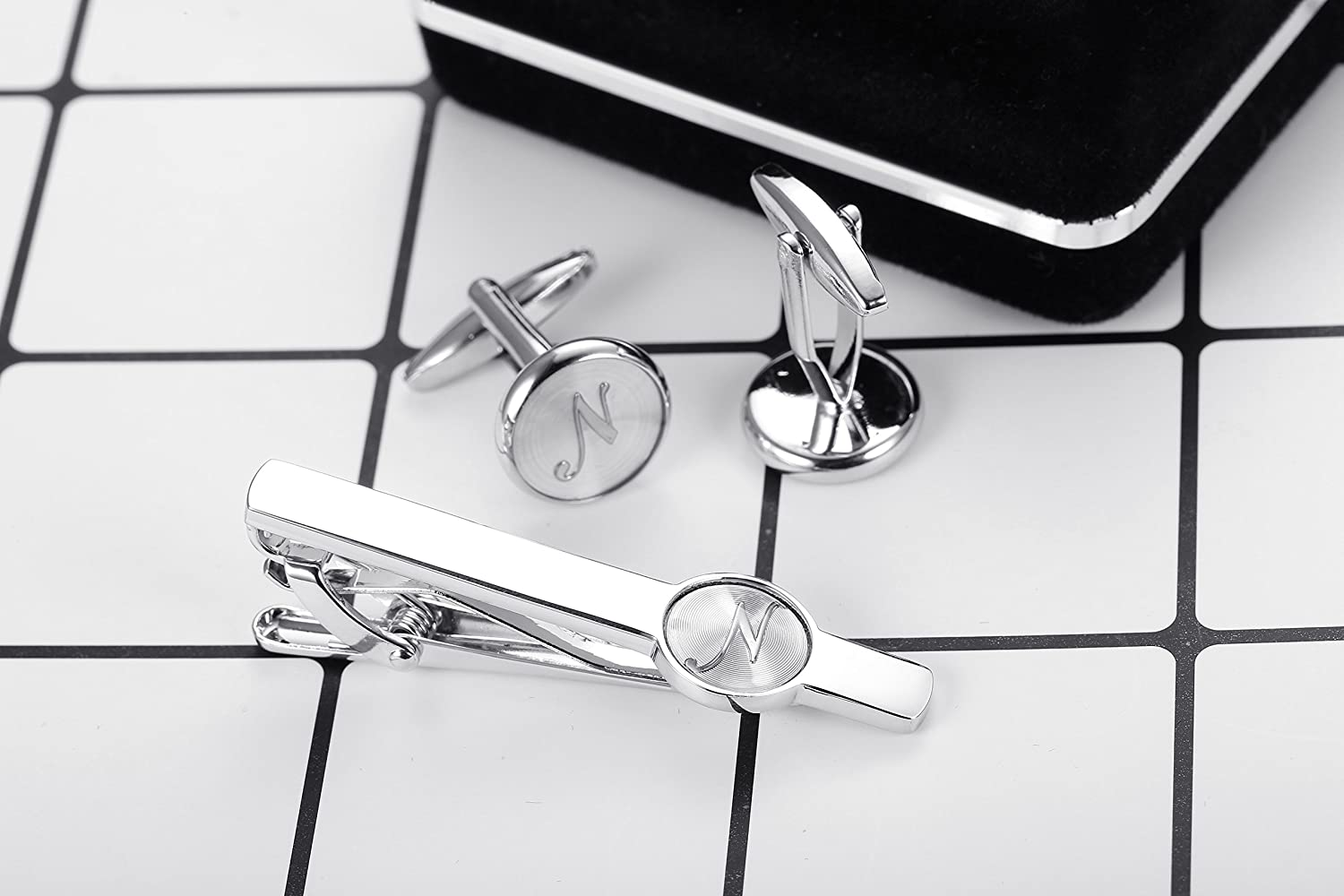 ORAZIO Engraved Tie Clip and Initial Cufflinks Set for Men Women Pearl Cufflinks and Alphabet Letter A-W Tie Bar Set for Business Wedding Silver Tone
