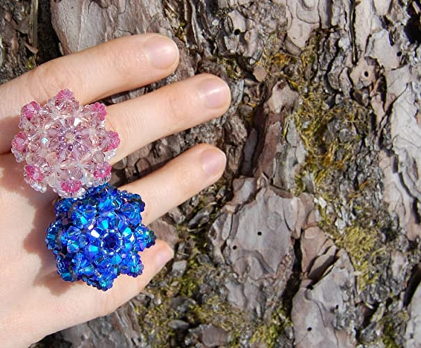 fa848887d7389e Blue Swarovski statement ring woven from crystals